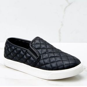 Black Quilted texture slip on sneaker